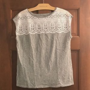 Loft tee with lace yoke